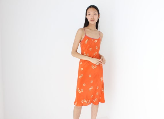 Divine 90s PURE SILK Orange Floral Bias Cut Femini