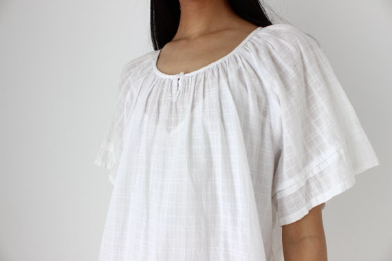 90s Simple Cotton Gauze Flutter Sleeve Smock Top - image 8