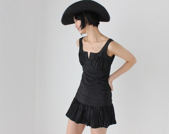 MOSCHINO Y2K Ruched / Gathered Bustier Renaissance Romantic Taffeta Puff Corset Ruffle Cocktail Party Mini Dress