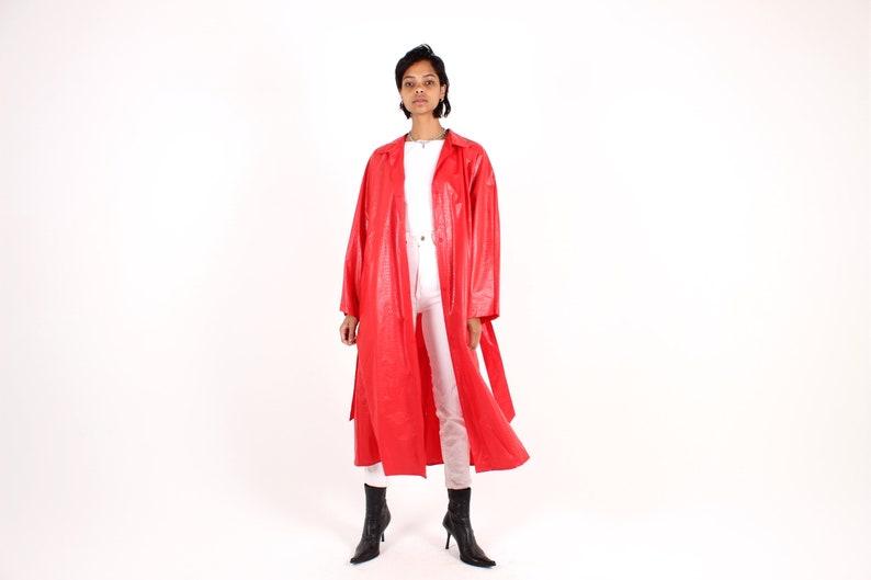 80s Vinyl Oversized Classic PVC Deep Red Long Jacket / image 0