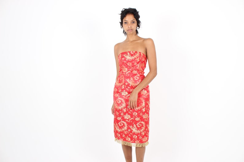 90s SEXY Golden Chinese Dragon Embroidery RED SATIN Strapless image 0