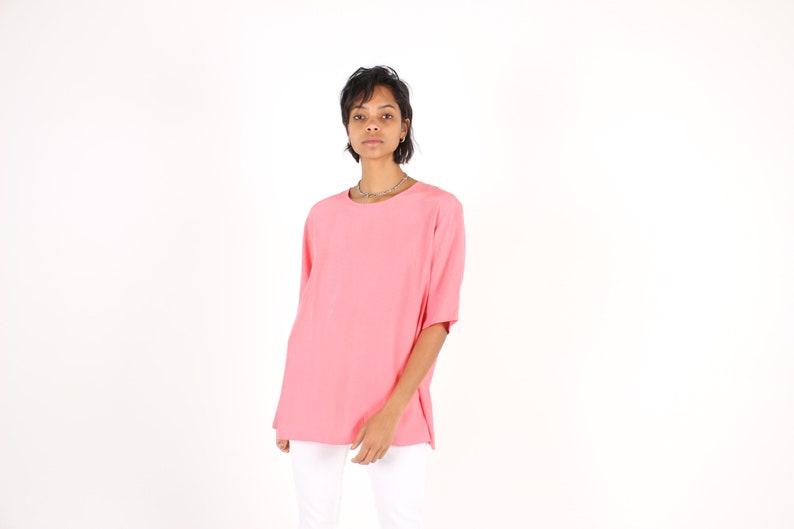 80s Bubblgum Pink SILK Minimal / Loose / Simple Floaty Free image 0