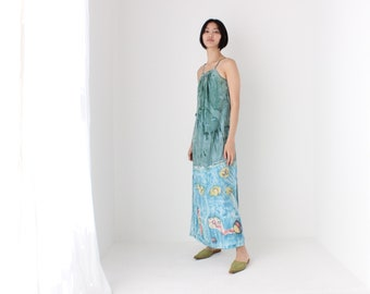 90s Spanish Silk Wearable Art Spray Painted Fishes Loose Summer Holiday Maxi Slip Dress