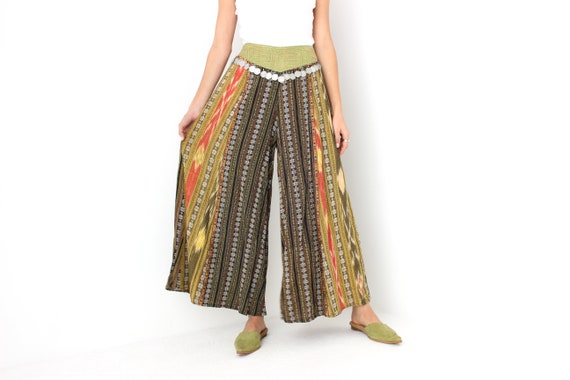 90s Vintage Cambodian Printed Cotton High Waist W… - image 1