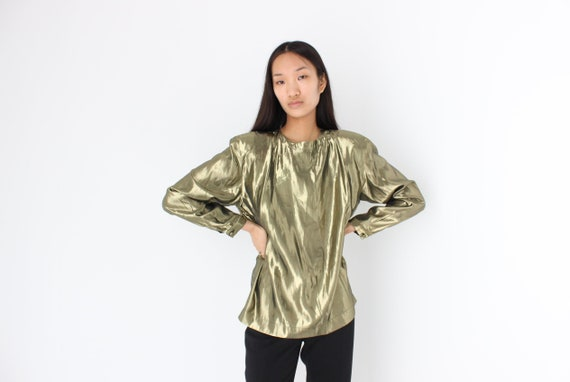 80s Lamé Metallic Gold Bold Puff Shoulder Long Sle