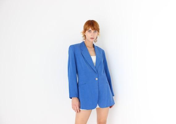 80s {Pure Silk} Electric Blue Boxy Suit Blazer Min