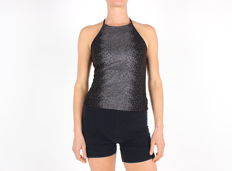Y2K Stretch Black Lycra & Silver Metallic Glitter Fitted Club image 0
