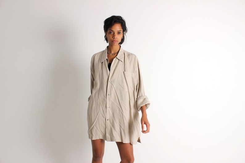 90s Earthy Oatmeal LINEN Cotton Minimal Perfectly Simple image 0
