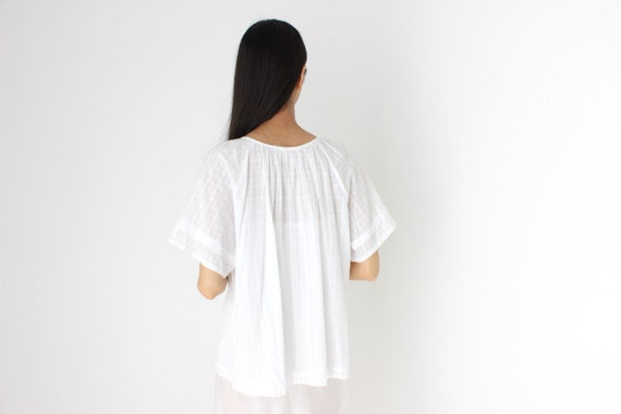 90s Simple Cotton Gauze Flutter Sleeve Smock Top - image 4