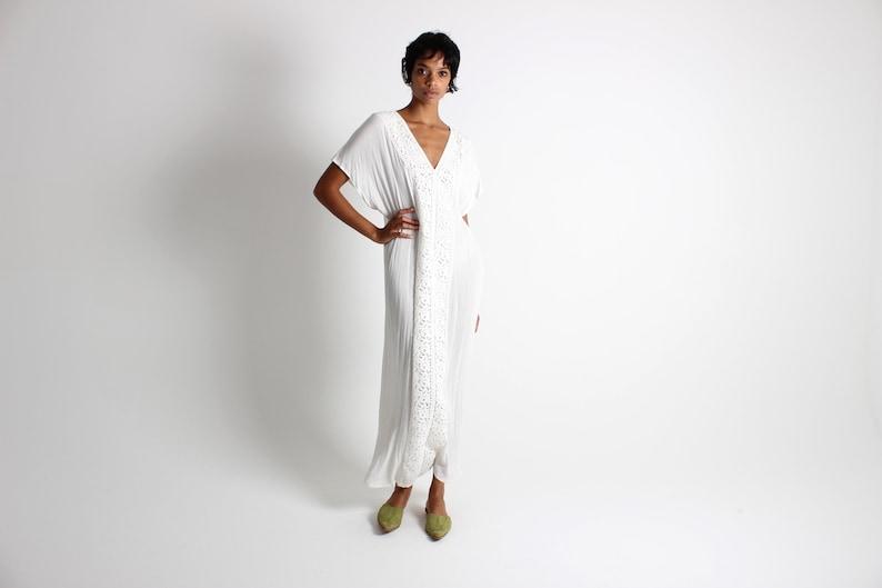 90s Soft Cotton / Poly Gauze Draped Minimal Kaftan Loose / image 0