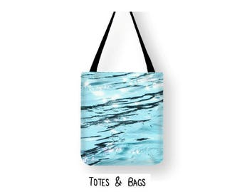 Water Ripples Tote Bag, Blue Ocean Shoulder Bag, Abstract Lake Photo Book Bag, Abstract water shopping Bag, Water Ripples Unique Beach Bag