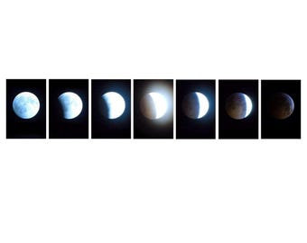 Lunar Eclipse Photo Set, Moon Eclipse Photography, Moon Phases Set of Seven, Moon during a Lunar Eclipse, Moon Fading Set of Moons for Him