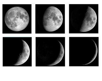 Large Moon Phases Set, Moon Wall Art, Black and White Celestial Art