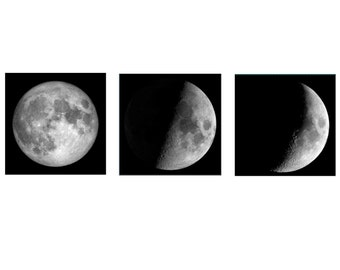 Large Moon Prints, Moon Phases Set of three, Moon Wall Art, Black and White Celestial Art