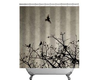 Flying Bird Shower Curtain Sepia Cedar Waxwings Silhouette In Flight Tree Branch Monotone Photo