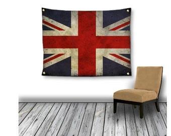 Art Tapestry Large Wall Hanging Union Jack Flag banner home decor patriotic dorm decor UK stripes vintage look