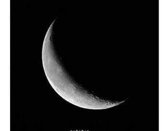 Crescent Moon Photography, Silver Waning Crescent Moon Photo, Phases of Moon, Celestial art, Sliver Moon, New Moon Photo