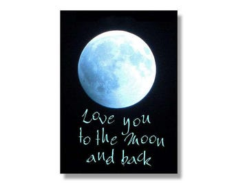 Blue Moon Photo,  Love You To the Moon Typography, Ice Blue Moon, Customize Moon Print, Personalize Love Print