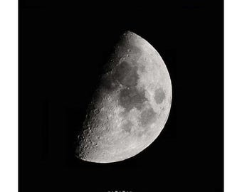 First Quarter Moon Photo, Phases of Moon, Craters on Moon photography, Half Moon Print, Silver Moon Art, Gray moon in a Dark Night Sky