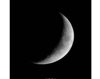 Waxing Crescent Moon Photo, Moon Phases Photography, Silver Waxing Moon, Black and white moon, crescent Moon in a Dark Night Sky