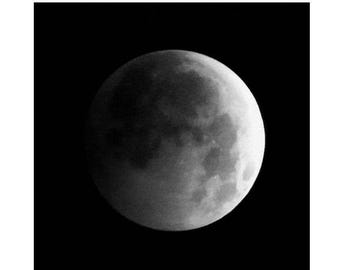 Moon Phases, Lunar Eclipse Photo, Eclipse of Full Moon print, Black and White Full Moon Art, Dark Night Sky with Moon Craters