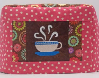 Coffee Cup Toaster Cover, Two Slice Toaster Cover, Pink Polka Dot Toaster Cover