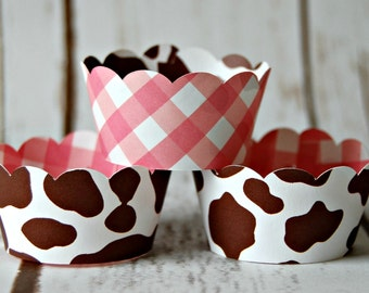 Cowgirl Hide Mini Cupcake Wrappers