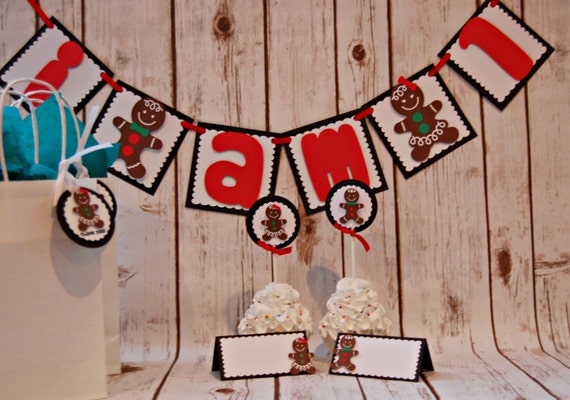 gingerbread party food buffet name tags christmas party decor