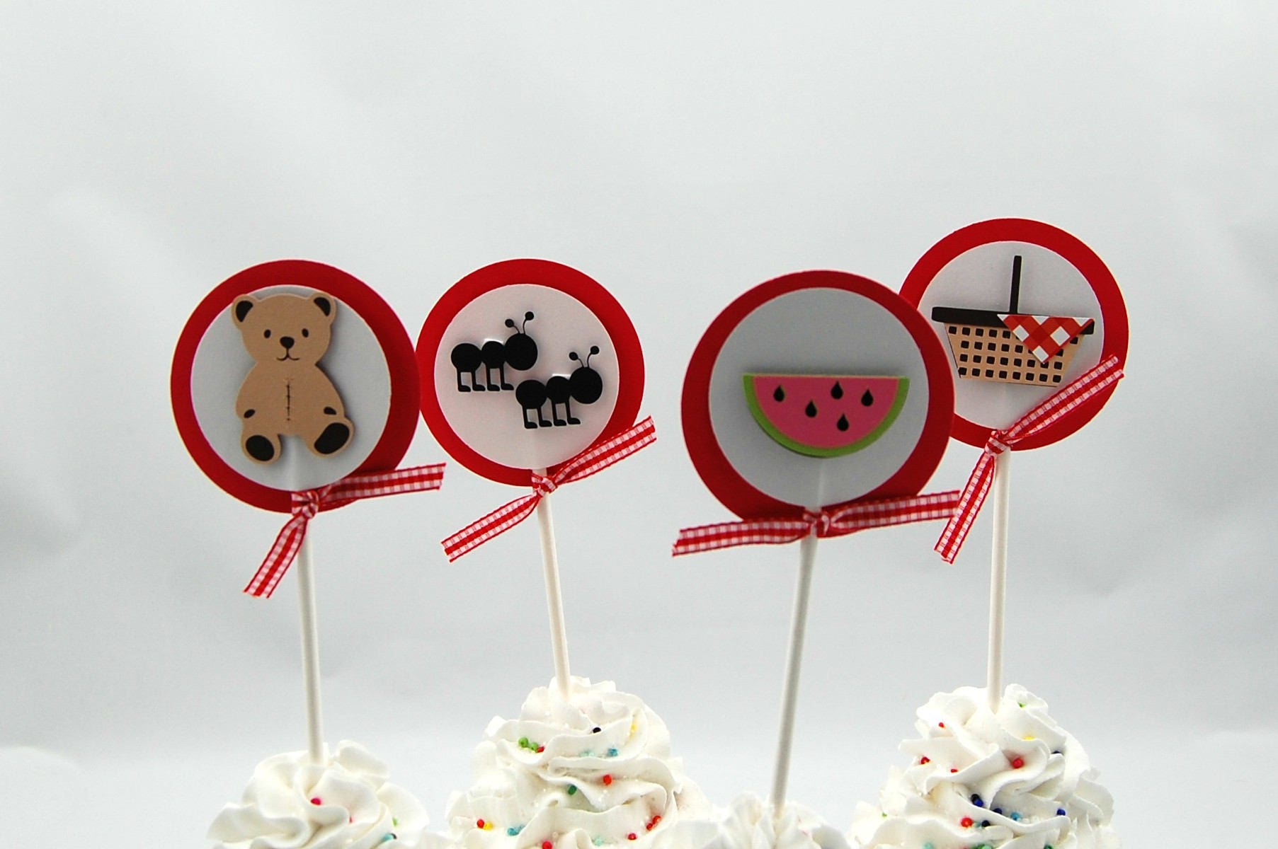 Teddy Bear Picnic Cupcake Toppers set of 12   Etsy