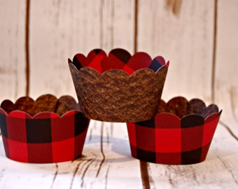 Lumberjack Cupcake Wrappers, Buffalo Plaid Reversible Cake Wraps,  Hunting Cupcake Decoration (set of 6)