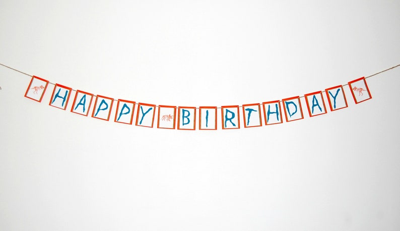 Dinosaur Happy Birthday Banner Dino Bones Party Birthday image 0