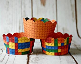 Bright Blocks Cupcake Wrappers, Reversible Cake Wraps,  Stacking Blocks Cupcake Decoration (set of 6)