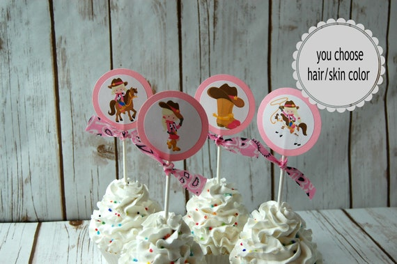 Outstanding 12 Cowgirl Cupcake Toppers Western Rodeo Cupcake Picks Wild West Personalised Birthday Cards Sponlily Jamesorg
