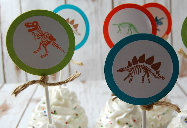 12 Dinosaur Party Cupcake Toppers Dino Skeleton Cup Cake image 0