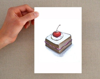 Cake art print, Kitchen illustration, cake art print, dessert drawing print, dessert print, cherry print, cake wall art, modern cake, art