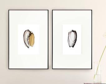 Set of 2 shells art print, sea prints, set option, print set, shell print wall art, minimal shells print, choose set, sets, modern shells