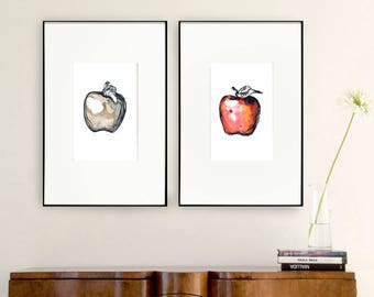 Set apple prints, choose one or more print option, modern print set, modern fruit print, set amount, set option, kitchen wall art, apple art
