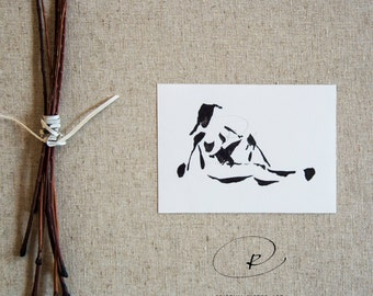 Nude ink art drawing, minimal drawing, black and white minimalist nude art, female nude, ink art ,original nude, nude painting, ink painting