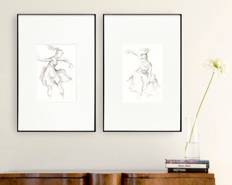 Set female dancer print, set amount, set option, modern print set, dancer print wall art, female drawing print, choose set, sets, dancer art