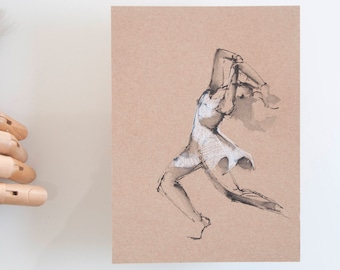 Dancer drawing, drawing on paper craft, original art, modern female art, spirituality, movement, female dancer drawing by cristina Ripper