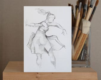 Original pencil drawing, drawing, pencil art drawing, modern female drawing, ballerina drawing, female art, movement art drawing, pencil art