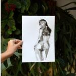 A4 Female nude back drawingon acid free paper-nude art, back nude, woman nacked, nude female drawings originals, nude art by Cristina Ripper