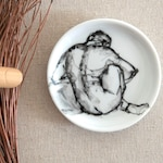 Back nude male pose-Black and white Hand painted  small round porcelain plate.Modern art painting on coaster,hand painted,female rest, gift,