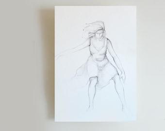 Disegni Di Ballerine Da Disegnare : Disegno a matita ballerina moderna carta acid free arte etsy