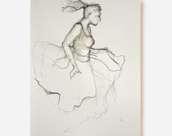 Modern ballerina pencil drawing, acid free paper, modern art, pencil drawing ballerina, movement art, female art drawing, dancer pencil art