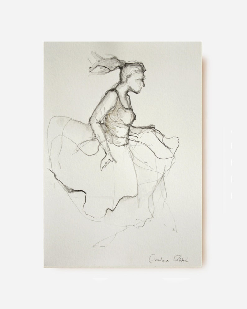 Modern ballerina pencil drawing acid free paper modern art etsy
