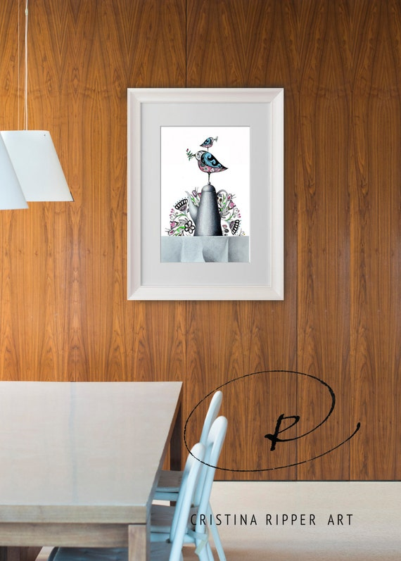 floral birds at coffee time kitchen prints print decor | etsy