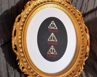 The Deathly Hallows cross stitch