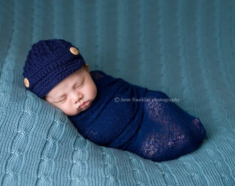 0e2bf33c822 Baby Boy Newsboy Cap   Hat   Brim   Beanie - Navy Blue - Knitted   Crochet  - Baby   Infant - Baby Gifts - Baby Clothes