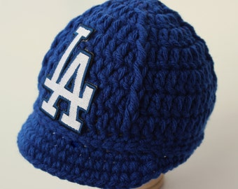 60f9d39d0eb Dodgers Baby Hat - Cap - Los Angeles Dodgers - Baby Gift   Newborn -  Baseball Photo Prop - MLB - Knitted   Crochet